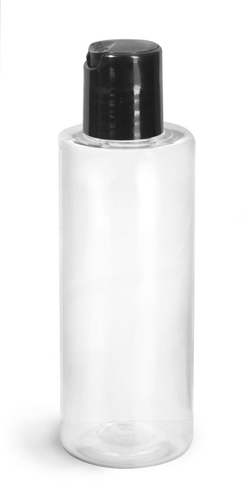Clear PET Cylinder Round Bottles w/ Black Disc Top Caps