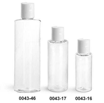 Plastic Bottles, Clear PET Cylinder Bottles w/ White Disc Top Caps