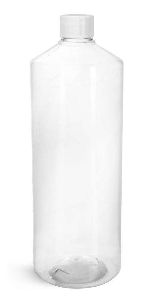 32 oz Clear PET Cylinder Bottles w/ White PP Ribbed Caps