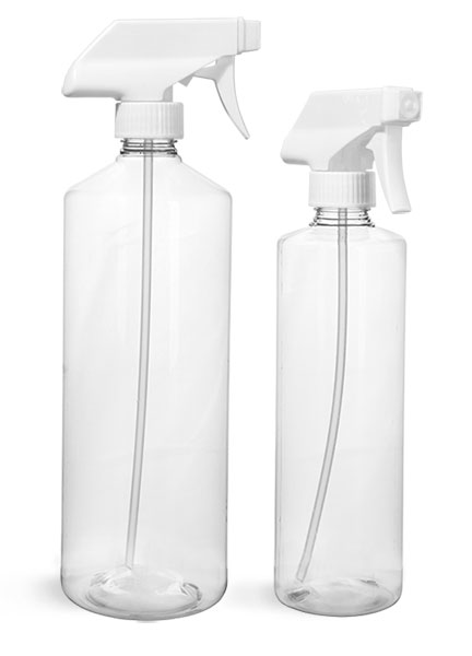 PET Plastic Bottles, Clear Cylinder Bottles w/ White Trigger Sprayers