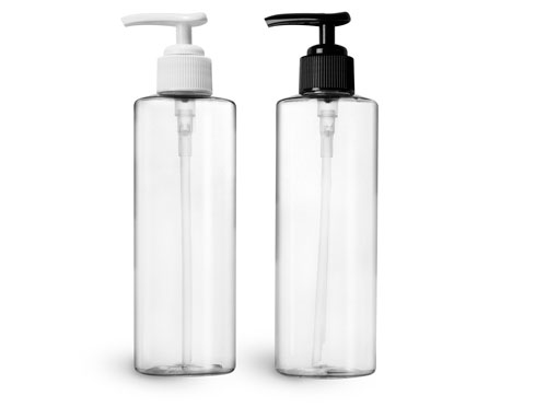 PET Plastic Bottles, Clear Cylinder Bottles w/ Ribbed Lotion Pumps