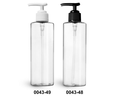 Plastic Bottles, Clear PET Cylinder Bottles w/ Ribbed Lotion Pumps