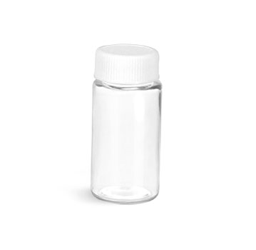 PET Plastic Bottles, Clear Sample Vials w/ White Lined Screw Caps