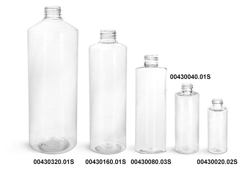 Plastic Bottles, Clear PET Cylinder Round Bottles (Bulk), Caps NOT Included