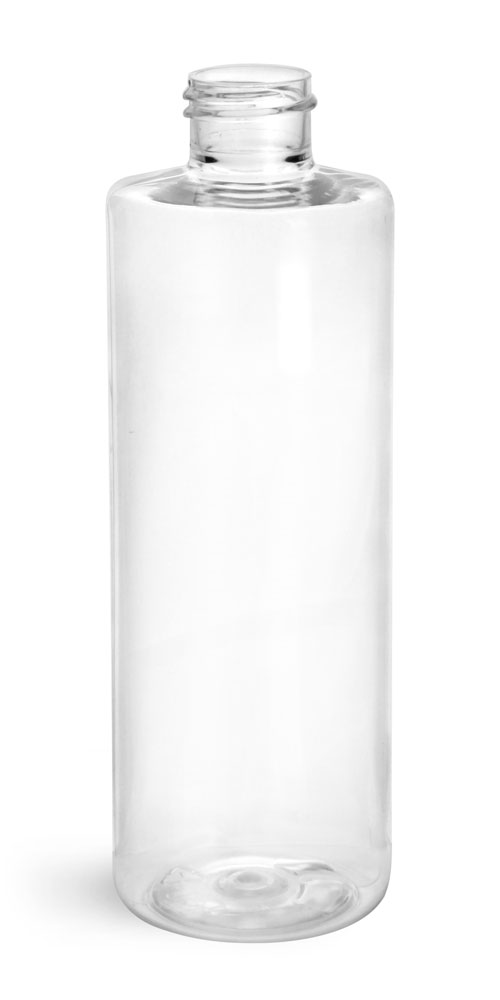 8 oz Clear PET Cylinder Bottles (Bulk) Caps Not Included