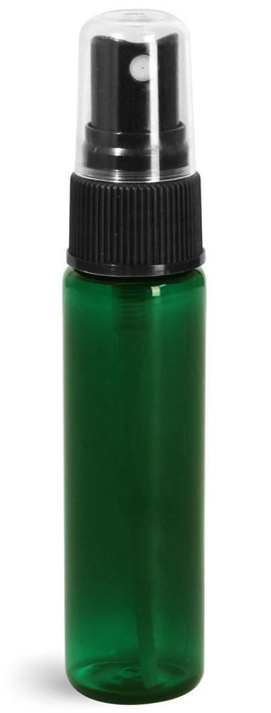 1 oz w/ Black Ribbed Sprayers Green PET Slim Line Cylinders w/ Black Sprayers