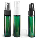 Green PET Slim Line Cylinder Bottles w/ Pumps