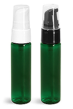 Green PET Slim Line Cylinder Bottles w/ Treatment Pumps