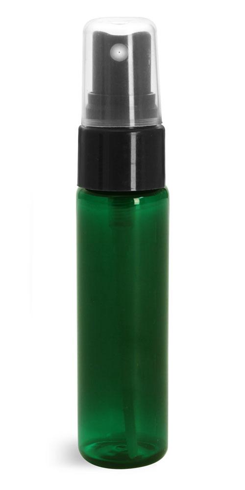 1 oz w/ Black Smooth Sprayers Green PET Slim Line Cylinders w/ Sprayers or Pumps