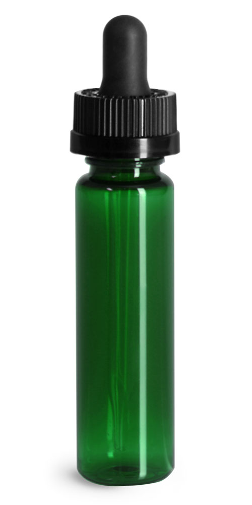 Plastic Bottles, Green PET Slim Line Cylinders w/ Black Child Resistant Glass Droppers