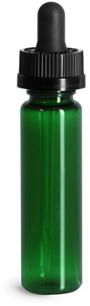 Plastic Bottles, Green PET Slim Line Cylinders w/ Black Child Resistant Glass Droppers