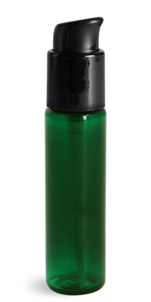 1 oz w/ Black Pumps Green PET Slim Line Cylinder Bottles w/ Treatment Pumps