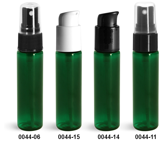 Plastic Bottles, Green PET Slim Line Cylinder Bottles w/ Sprayers Or Pumps
