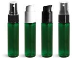 PET Plastic Bottles, Green Slim Line Cylinder Bottles w/ <br/>Sprayers or Pumps