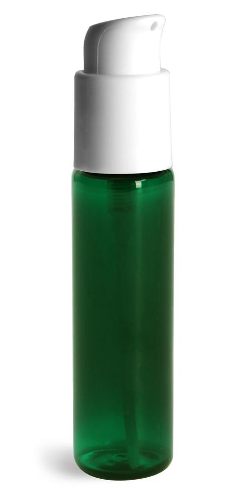 1 oz w/ White Pumps  Green PET Slim Line Cylinder Bottles w/ Treatment Pumps