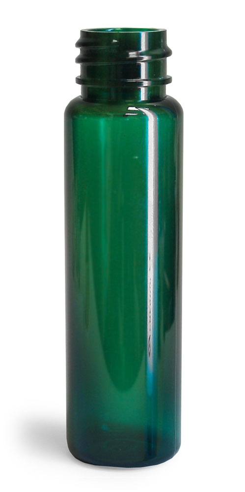 1 oz Green PET Slim Line Cylinders (Bulk), Caps NOT Included
