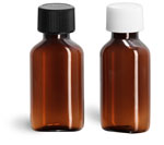 Plastic Bottles, 1 oz Amber PET Oval Bottles w/ Plastic Ribbed Caps