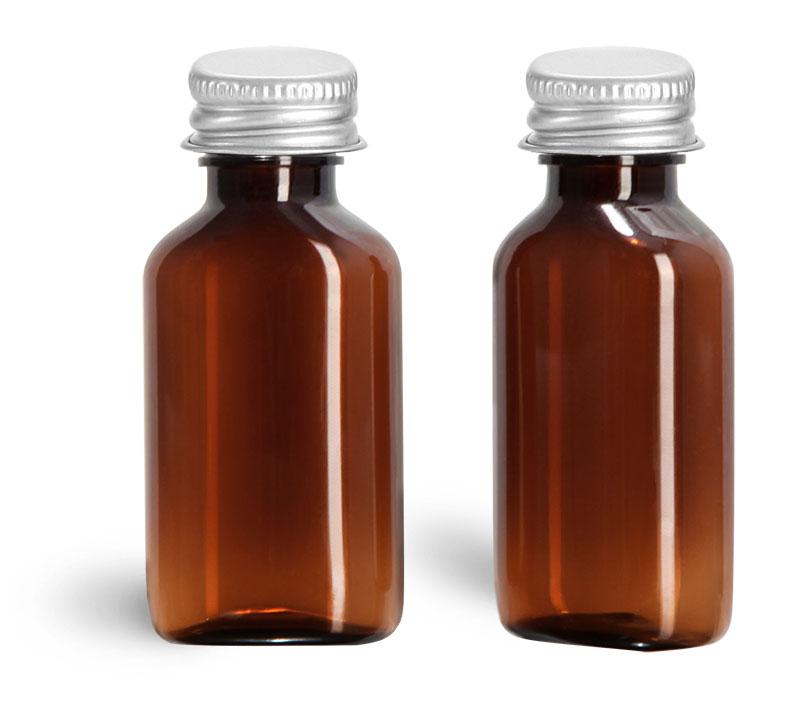 Plastic Bottles, Amber PET Bottles With Metal Lined Caps