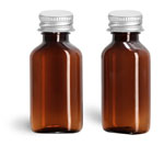Plastic Bottles, 1 oz Amber PET Oval Bottles w/ Metal Lined Caps