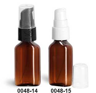 Plastic Bottles, Amber PET Oval Bottles w/ Treatment Pumps