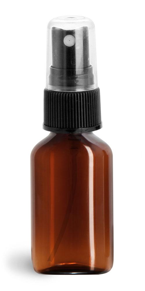Amber PET Oval Bottles w/ Ribbed Fine Mist Sprayers