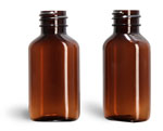 1 oz Amber PET Oval Bottles (Bulk), Caps NOT Included