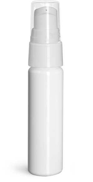 White PET Slim Line Cylinder Bottles w/ White Treatment Pumps