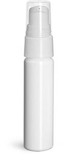 Plastic Bottles, White PET Slim Line Cylinder Bottles w/ White Treatment Pumps