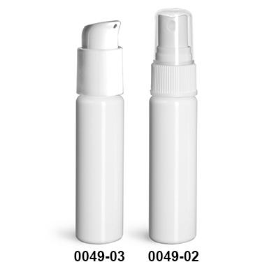 Plastic Bottles, White PET Slim Line Cylinder Bottles w/ Pumps Or Sprayers