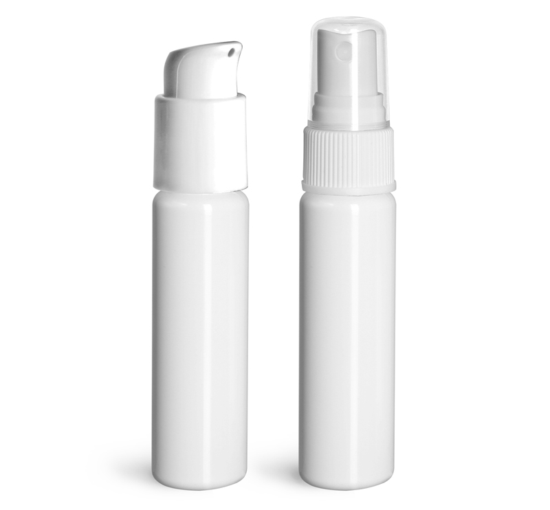 PET Plastic Bottles, White Slim Line Cylinder Bottles w/ Pumps or Sprayers