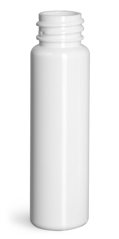 1 oz Plastic Bottles, White PET Slim Line Cylinders (Bulk), Caps NOT Included