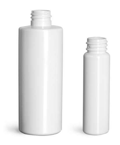 4 oz Plastic Bottles, White PET Slim Line Cylinders (Bulk), Caps NOT Included