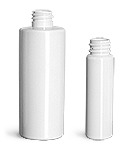 4 oz Plastic Bottles, White PET Slim Line Cylinders