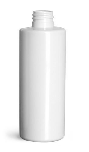 4 oz Plastic Bottles, White PET Slim Line Cylinders (Bulk), Caps NOT Included