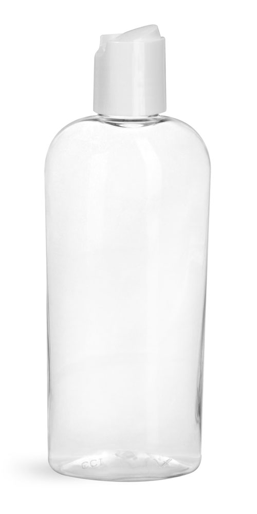 8 oz Clear PET Cosmo Ovals w/ White Disc Top Caps