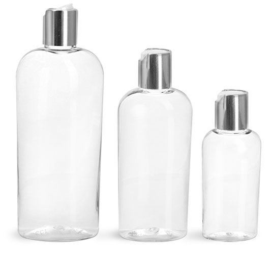PET Plastic Bottles, Clear Cosmo Ovals w/ Silver Disc Top Caps