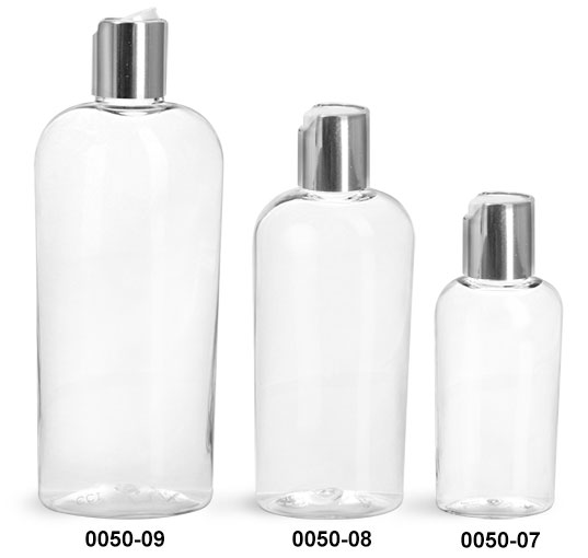 Plastic Bottles, Clear PET Cosmo Ovals with Silver Disc Top Caps