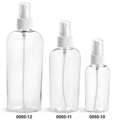 Plastic Bottles, Clear PET Cosmo Ovals with White Fine Mist Sprayers