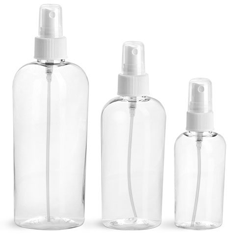 PET Plastic Bottles, Clear Cosmo Ovals w/ White Fine Mist Sprayers