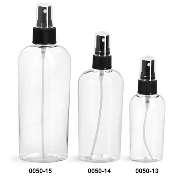 Plastic Bottles, Clear PET Cosmo Ovals with Black Fine Mist Sprayers
