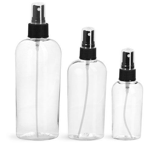 PET Plastic Bottles, Clear Cosmo Ovals w/ Black Fine Mist Sprayers