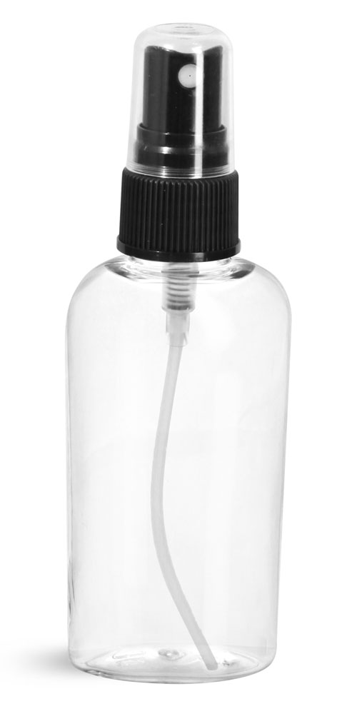 2 oz Clear PET Cosmo Ovals w/ Black Fine Mist Sprayers