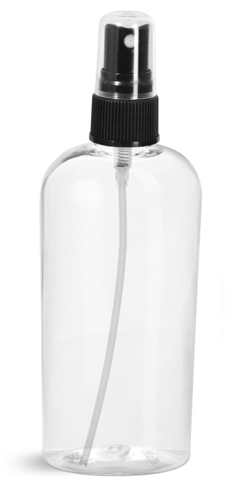 4 oz Clear PET Cosmo Ovals w/ Black Fine Mist Sprayers