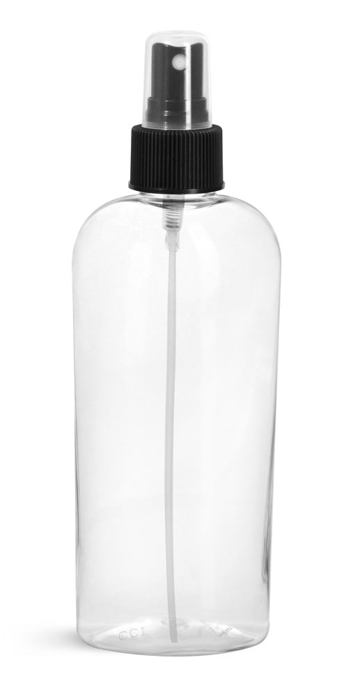 Clear PET Cosmo Ovals w/ Black Fine Mist Sprayers