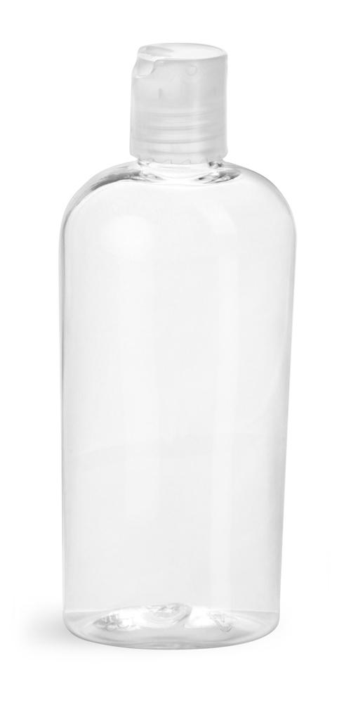 4 oz Clear PET Cosmo Ovals w/ Natural Disc Top Caps