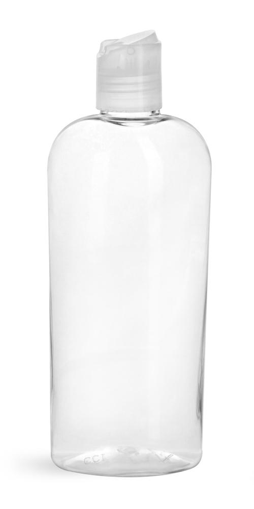 8 oz Clear PET Cosmo Ovals w/ Natural Disc Top Caps