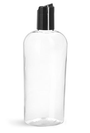 PET Plastic Bottles, Clear Cosmo Ovals w/ Black Disc Top Caps, 24/415 Finish