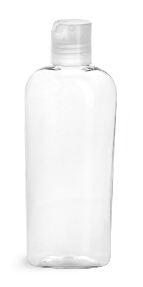6 oz 6 oz Clear PET Cosmo Ovals w/ Natural Disc Top