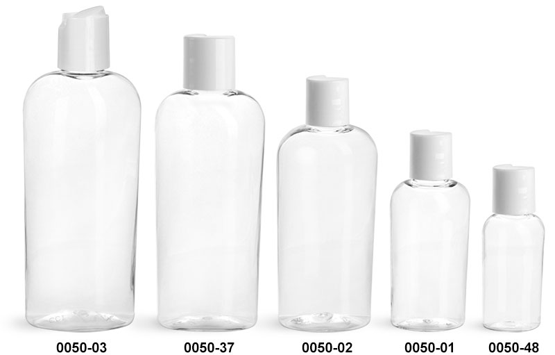 Plastic Bottles, Clear PET Cosmo Ovals with White Disc Top Caps