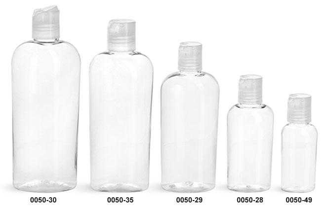 Plastic Bottles, Clear PET Cosmo Ovals with Natural Disc Top Caps